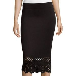 Bisou Bisou laser-cut scuba skirt